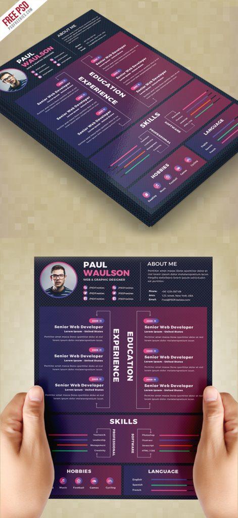 Creative Resume Design Template PSD