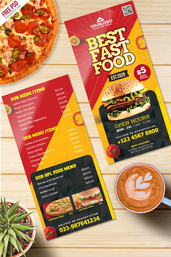 Fast Food Menu Card Free PSD