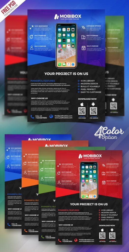 Mobile App Promotion Flyer PSD Bundle