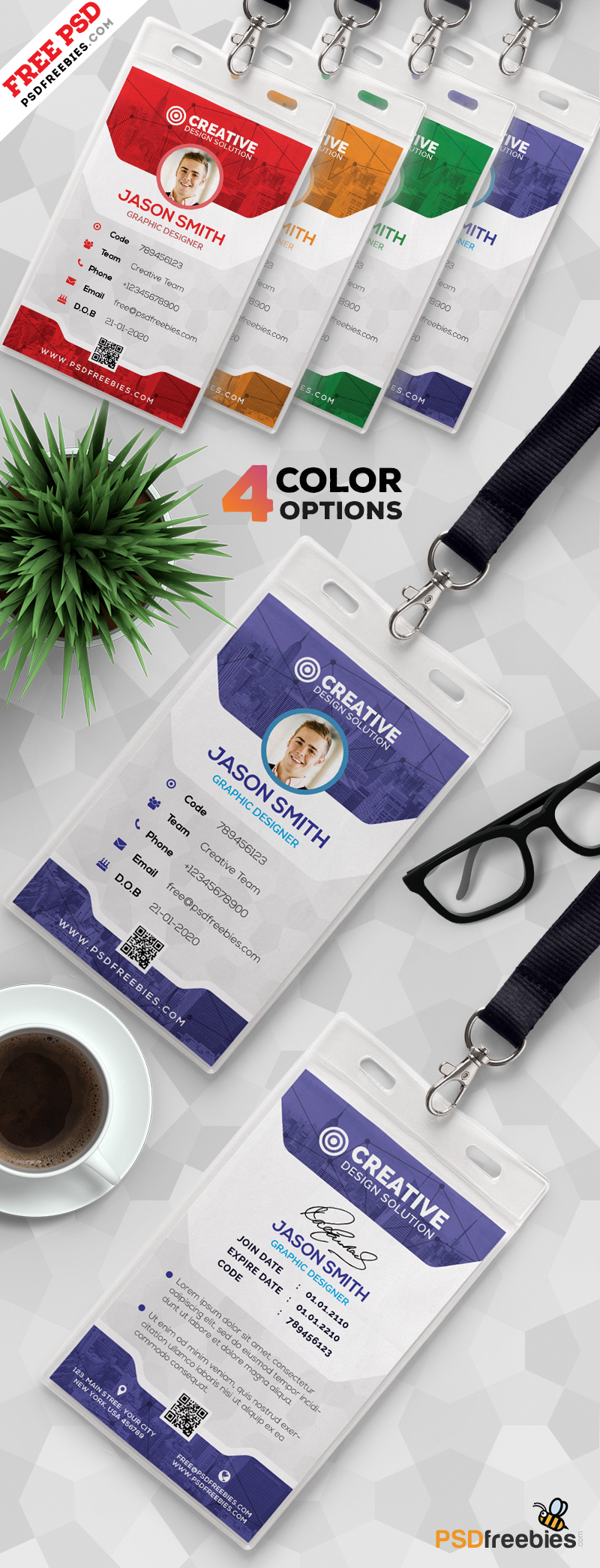 Office Identity Card Template PSD Set