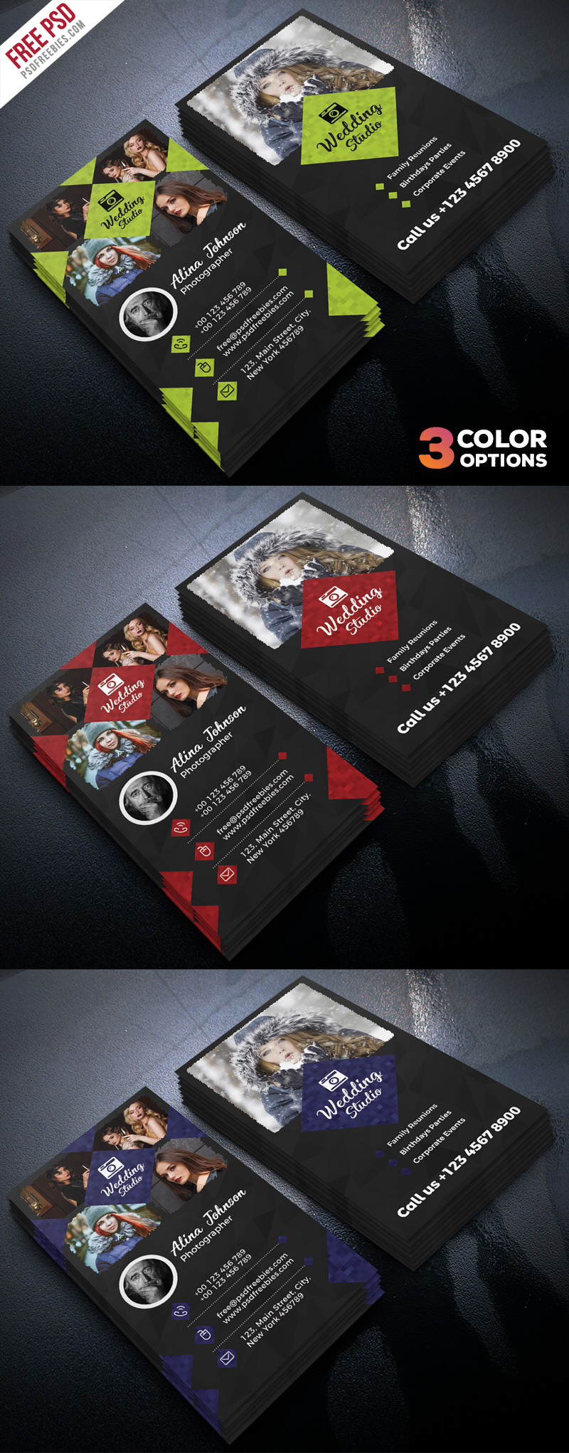 Photographer Business Card Template PSD Set