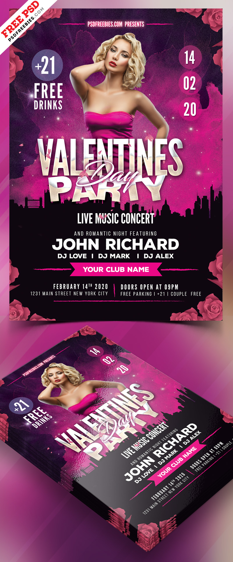 Valentines Day Party Flyer PSD Freebie