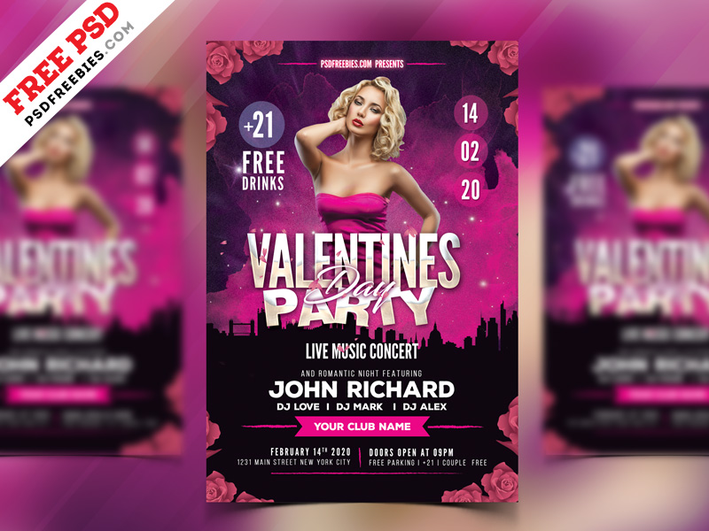 Valentines Day Party Flyer Psd Freebie Psdfreebies Com