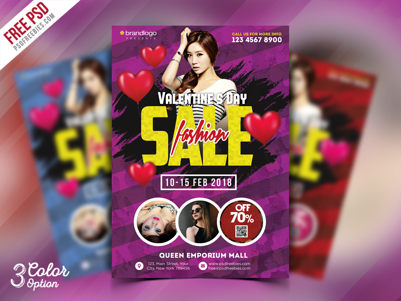 Valentines Day Sale Flyer Template PSD