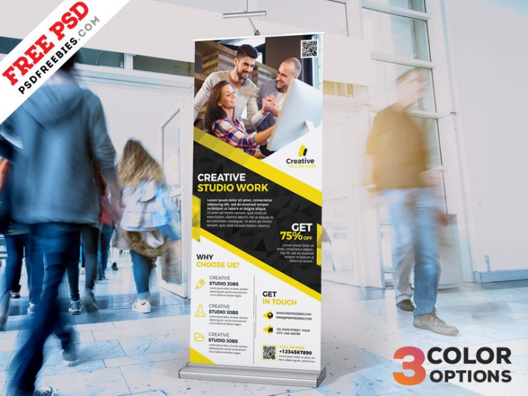 Corporate Roll-Up Banner Free PSD Set