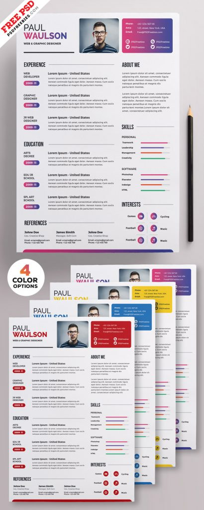 Creative Resume Template PSD Set