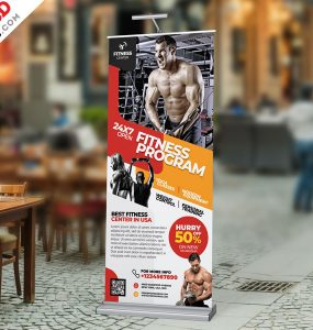 Fitness Gym Roll Up Banner Free PSD