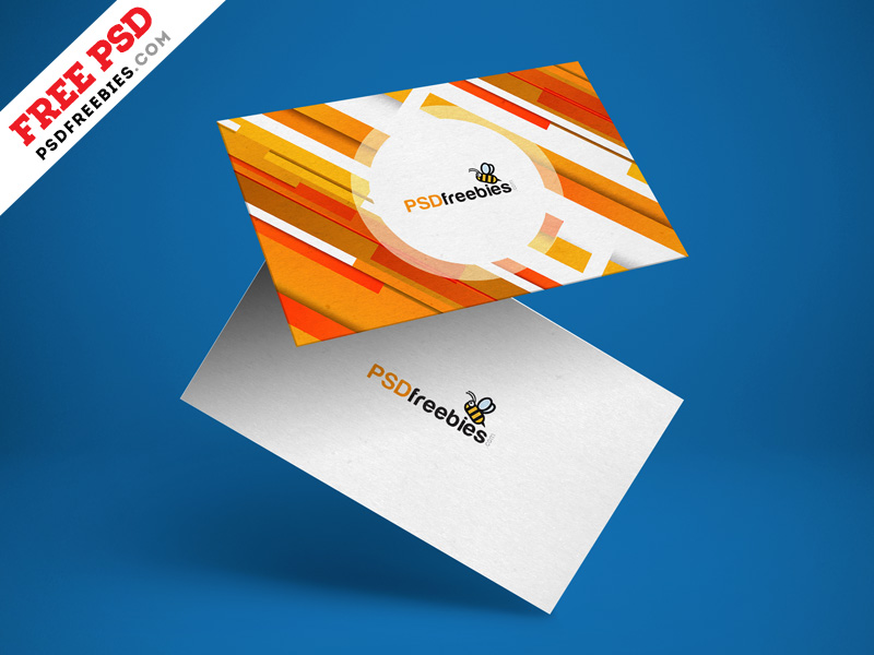 Free Floating Business Card Mockup Psd Psdfreebiescom