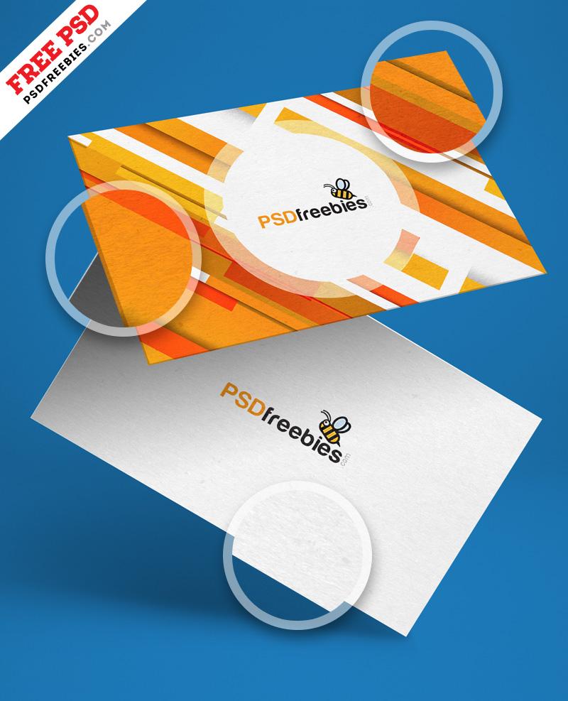 Free Floating Business Card Mockup PSD