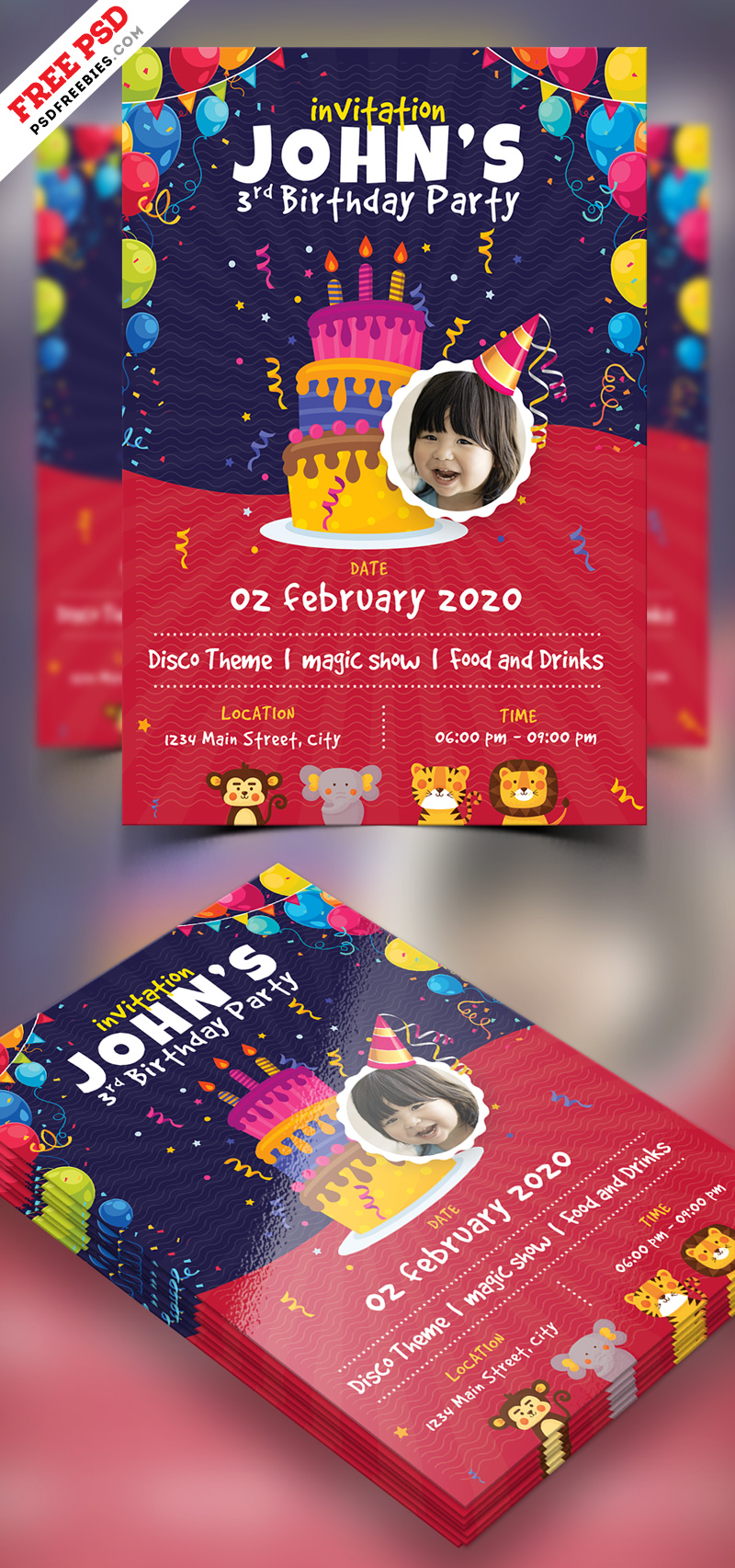 kids birthday party invitation flyer psd psdfreebies com