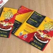 Restaurant Tri-Fold Brochure Menu PSD