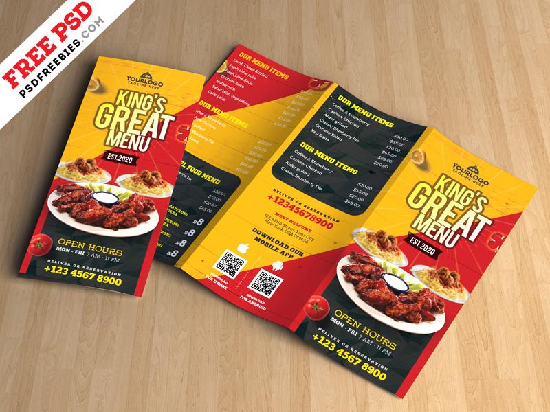 restaurant tri fold brochure menu psd psdfreebies com