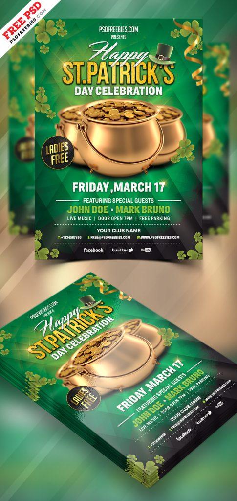 St. Patrick's Day Celebration Flyer Free PSD