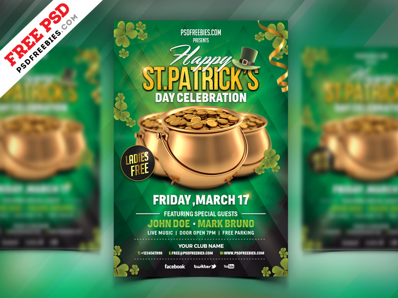 St Patrick's Day Celebration Flyer Free PSD