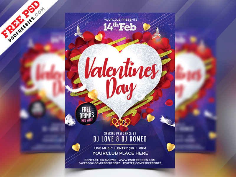 Valentines Day Flyer Free PSD Template | PSDFreebies com