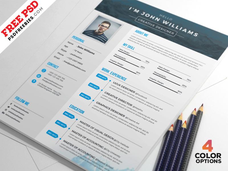 4 Free Creative Resume PSD Set