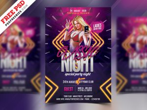 Club Night Party Flyer Free PSD