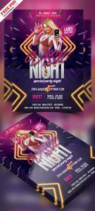 Club Night Party Flyer Free PSD