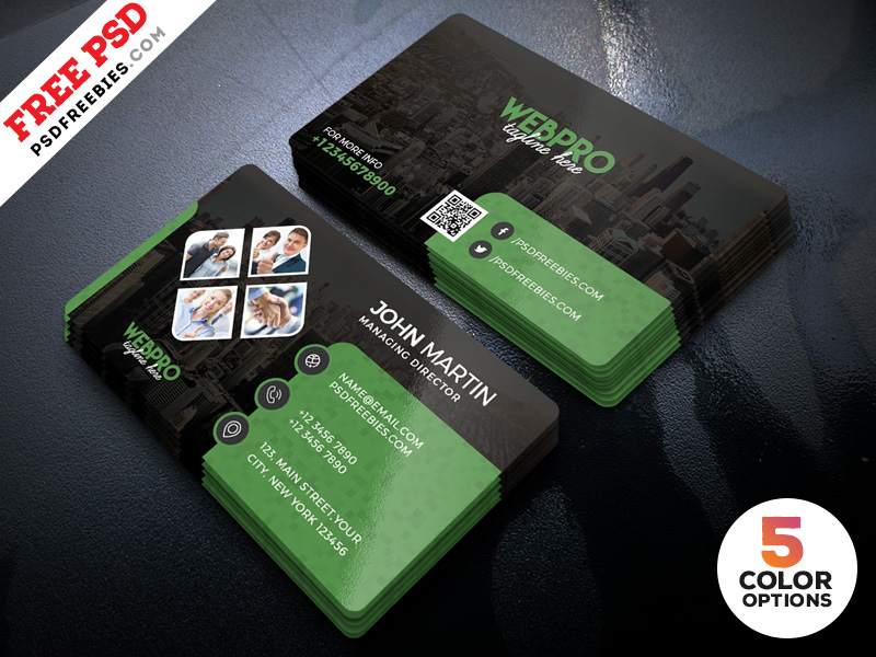 Corporate Business Cards Design PSD Set