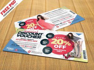 Discount Voucher Design Template PSD
