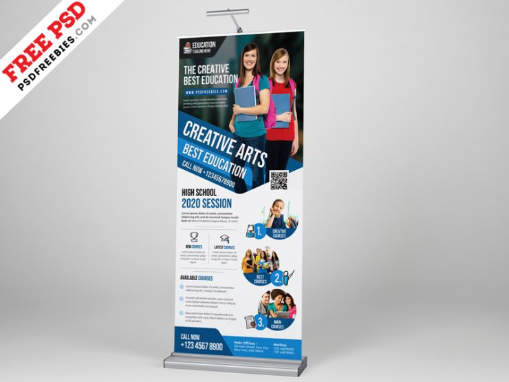 Education Roll up Banner PSD Template