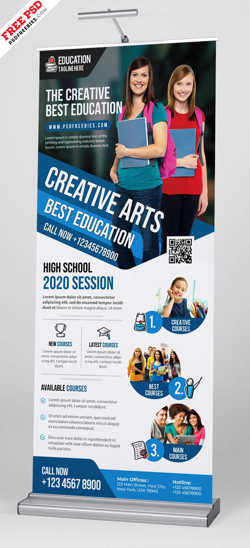 Education Roll Up Banner Psd Template Psdfreebies Com