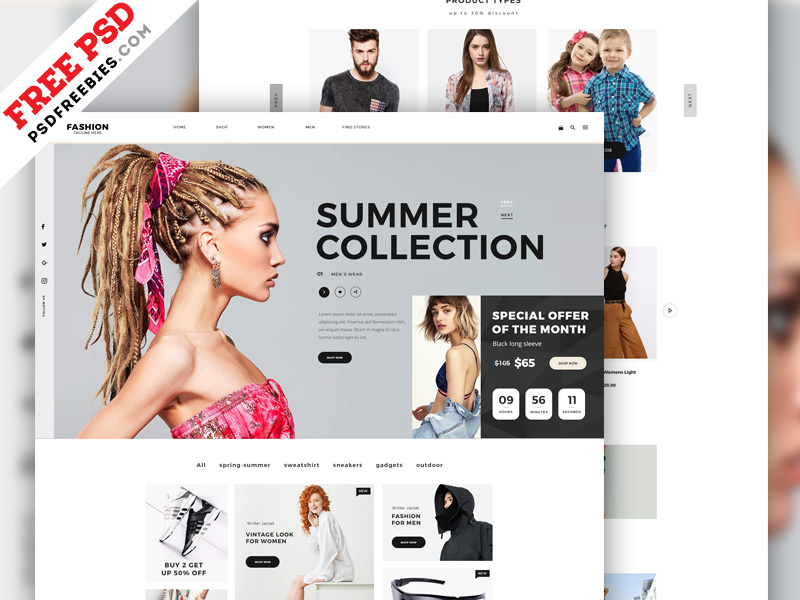 Fashion E Commerce Website Home Page PSD