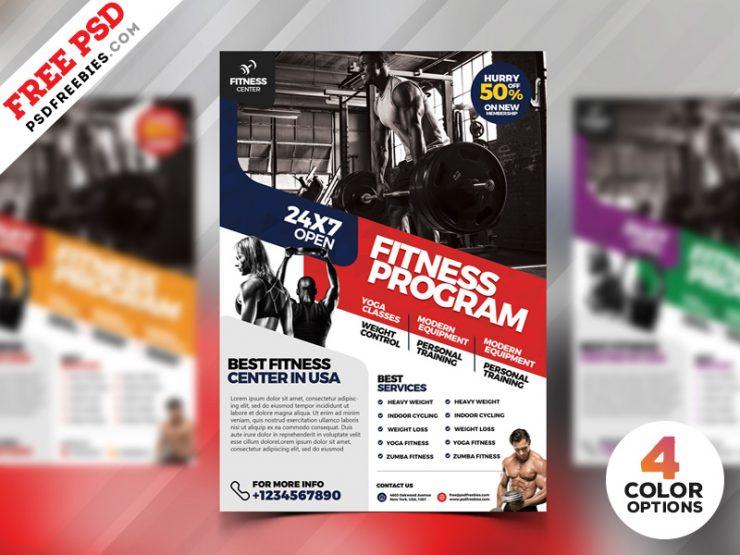 Gym Fitness Flyer Design PSD Bundle