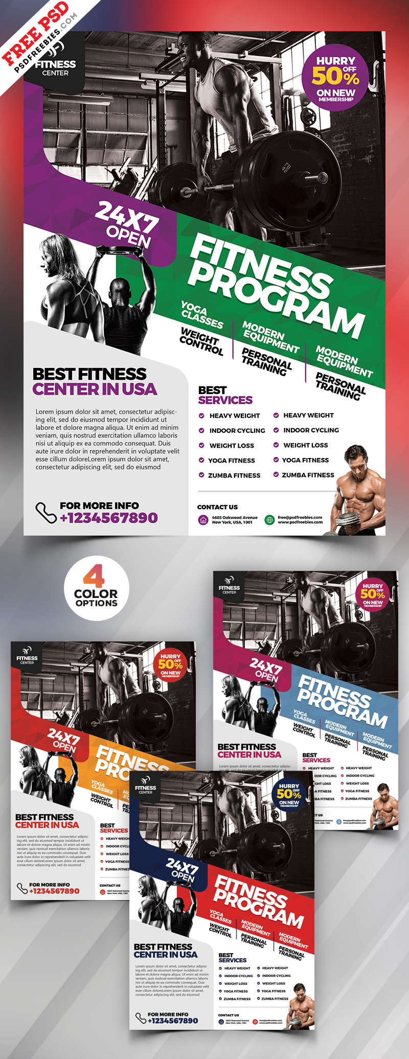 gym fitness flyer design psd bundle psdfreebies com