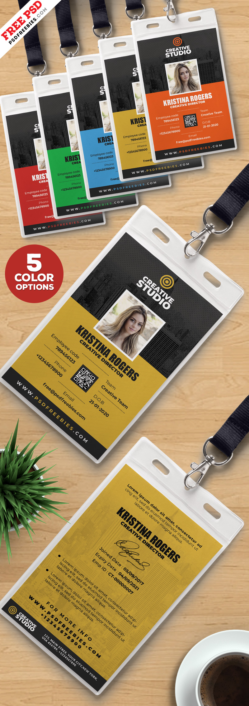 Office Identity Card Template PSD Bundle