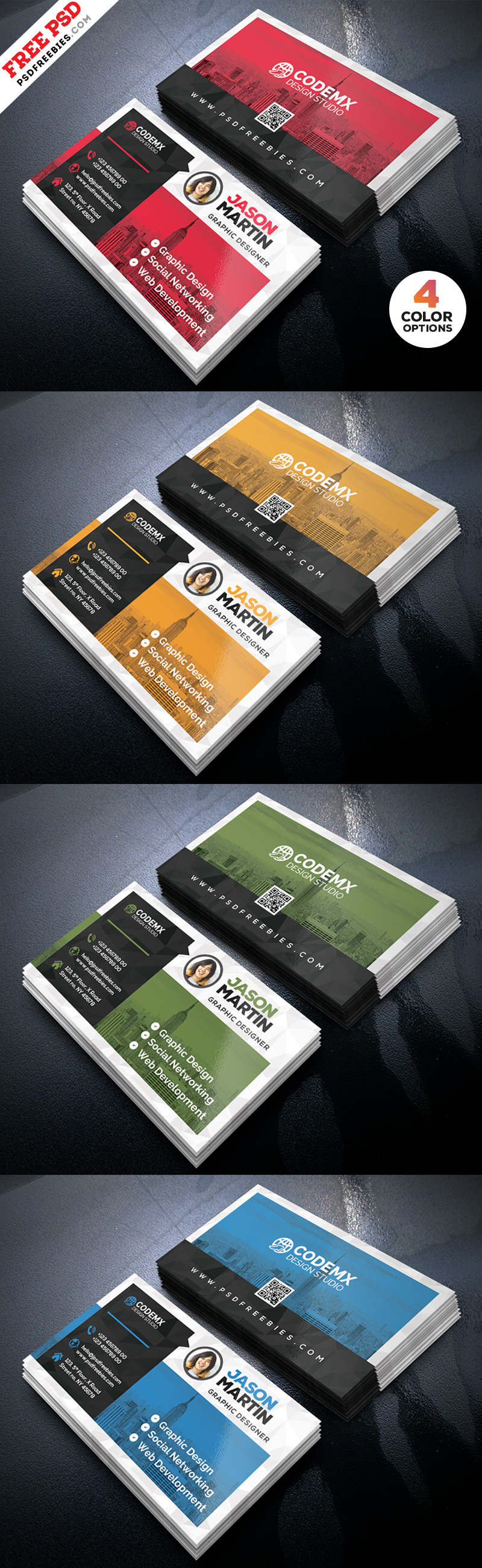Clean Business Card Template PSD Bundle