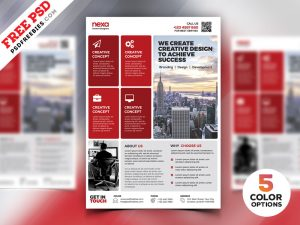 Corporate Modern Flyer Template Free PSD Set