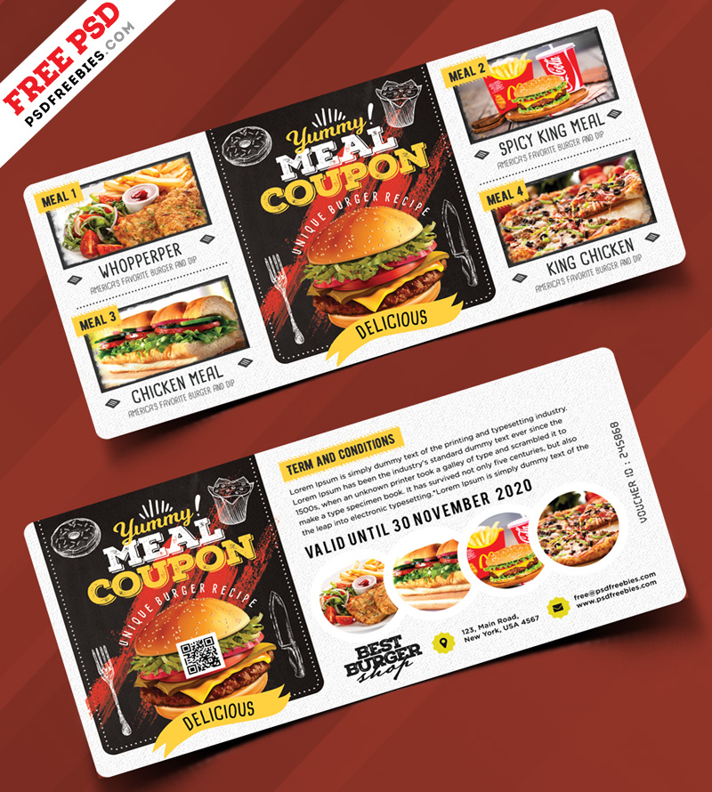 food voucher design template free psd psdfreebiescom