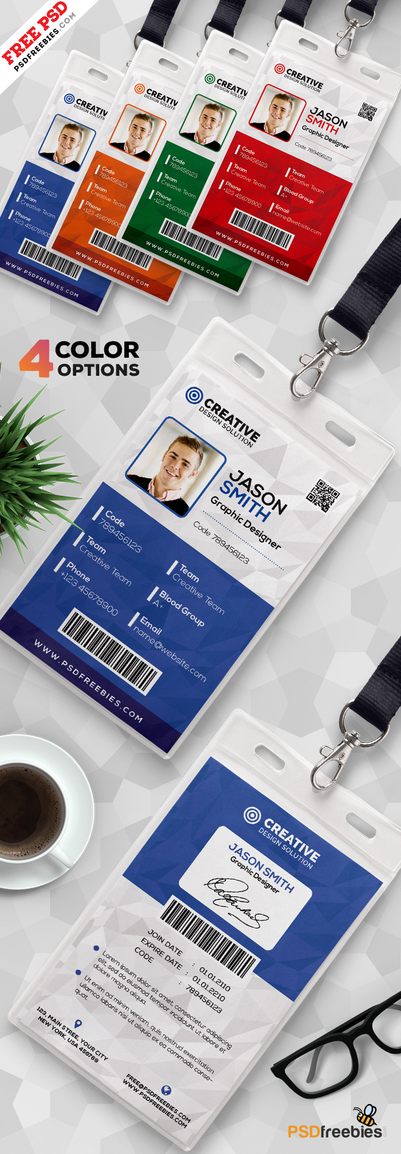 Free Office Identity Cards Design PSD Bundle