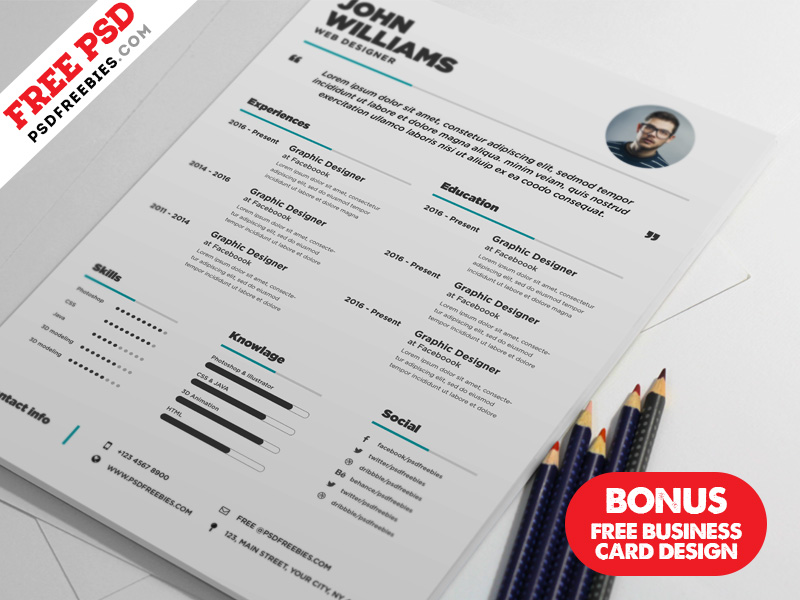 Free Resume And Business Card Design Bundle PSD