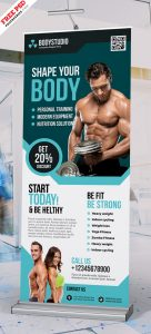 Gym Fitness Club Roll up Banner Free PSD