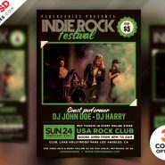 Indie Rock Music Festival Flyer Free PSD