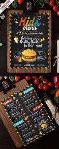 Kids Food Menu Card Template PSD