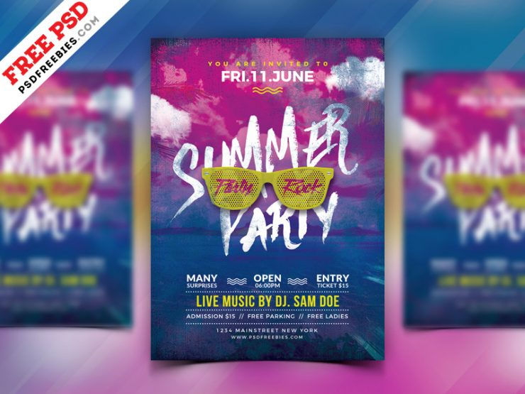 Summer Party Flyer Design Free PSD