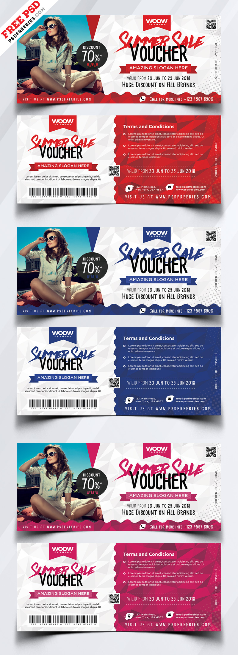 Summer Sale Discount Voucher Free PSD Bundle