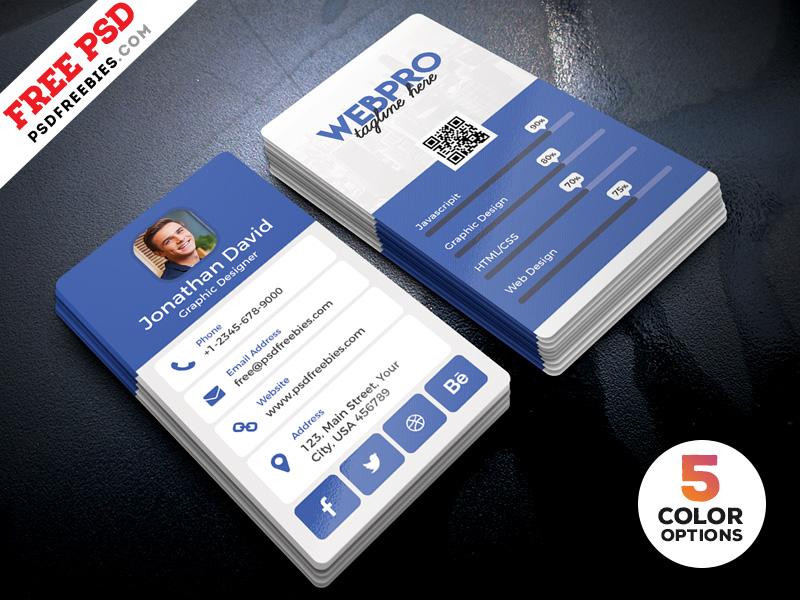Vertical Business Card Template Psd Bundle