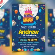 Birthday Party Invitation Card PSD