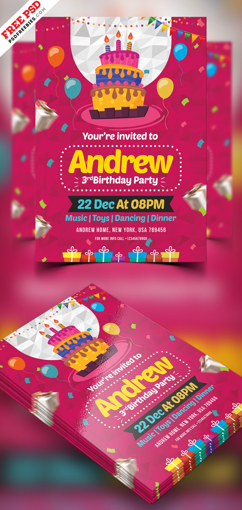 Birthday Party Invitation Card Psd Preview Psdfreebies Com