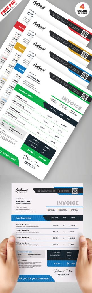 Business Invoice Design Template PSD