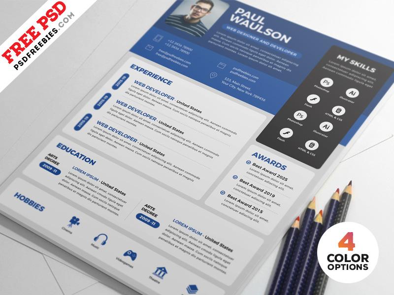 Creative Resume CV Design Free PSD Bundle