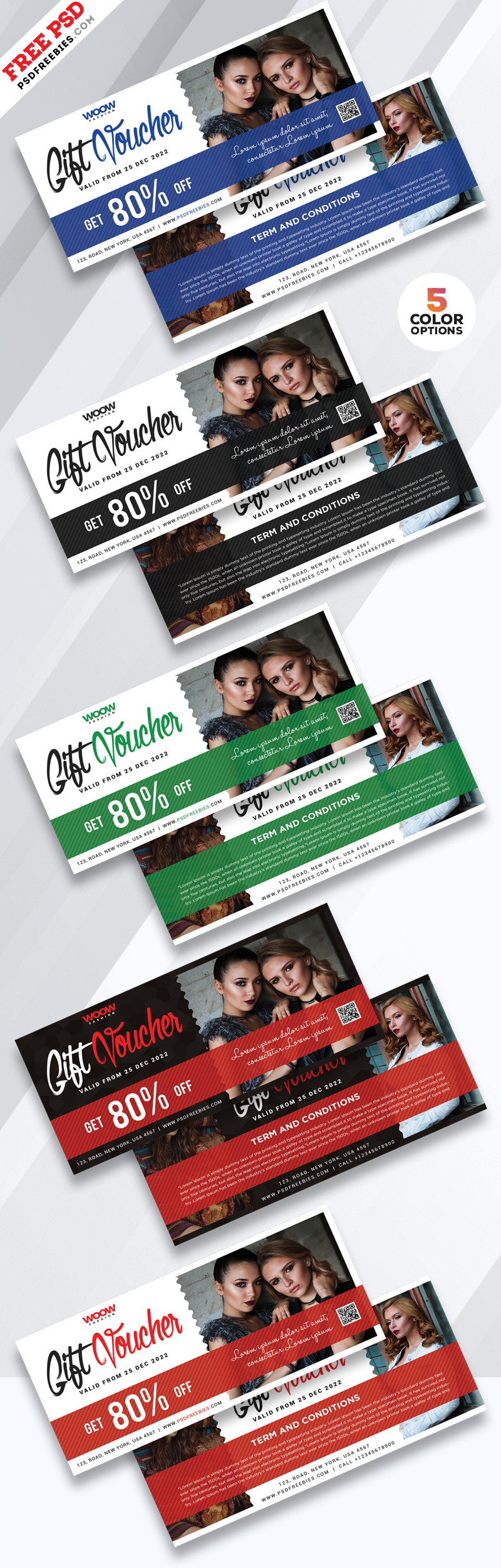 Gift Voucher Design Free PSD Bundle