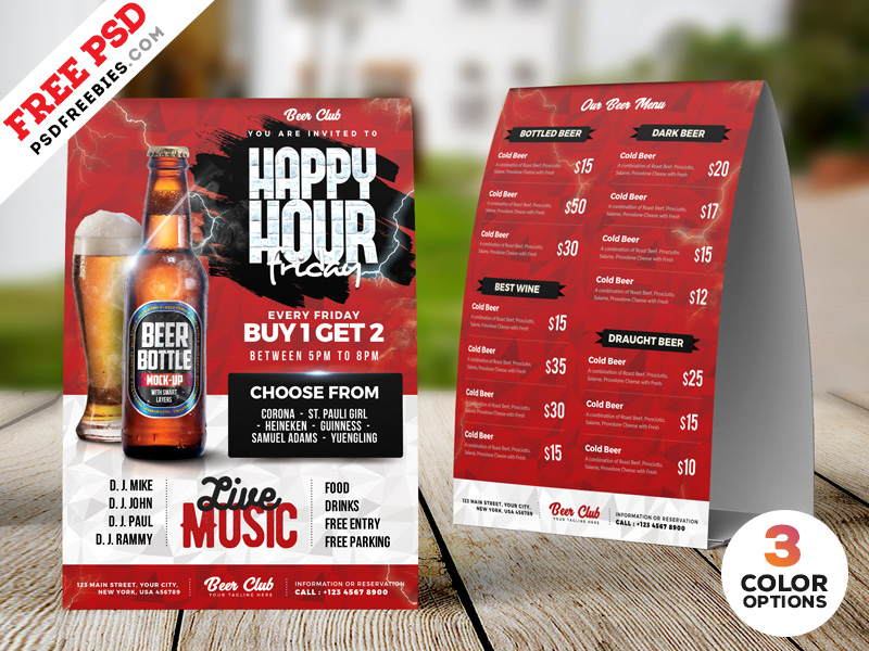 Happy Hour Promotion Tent Card PSD Set