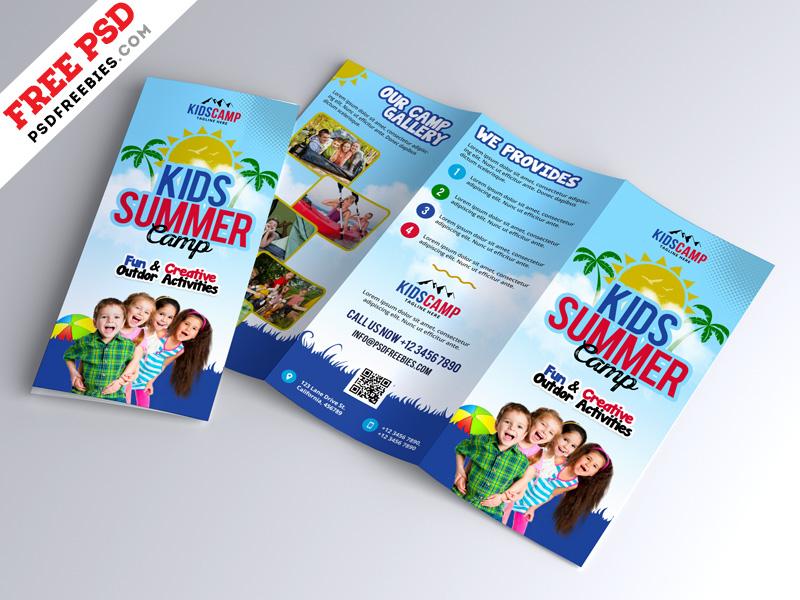 Kids Summer Camp Trifold Brochure Design PSD