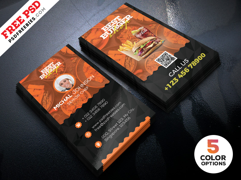 Restaurant Business Card Template Psd Bundle Psdfreebies Com