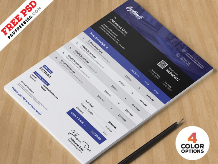 A4 Invoice Design Template PSD Bundle